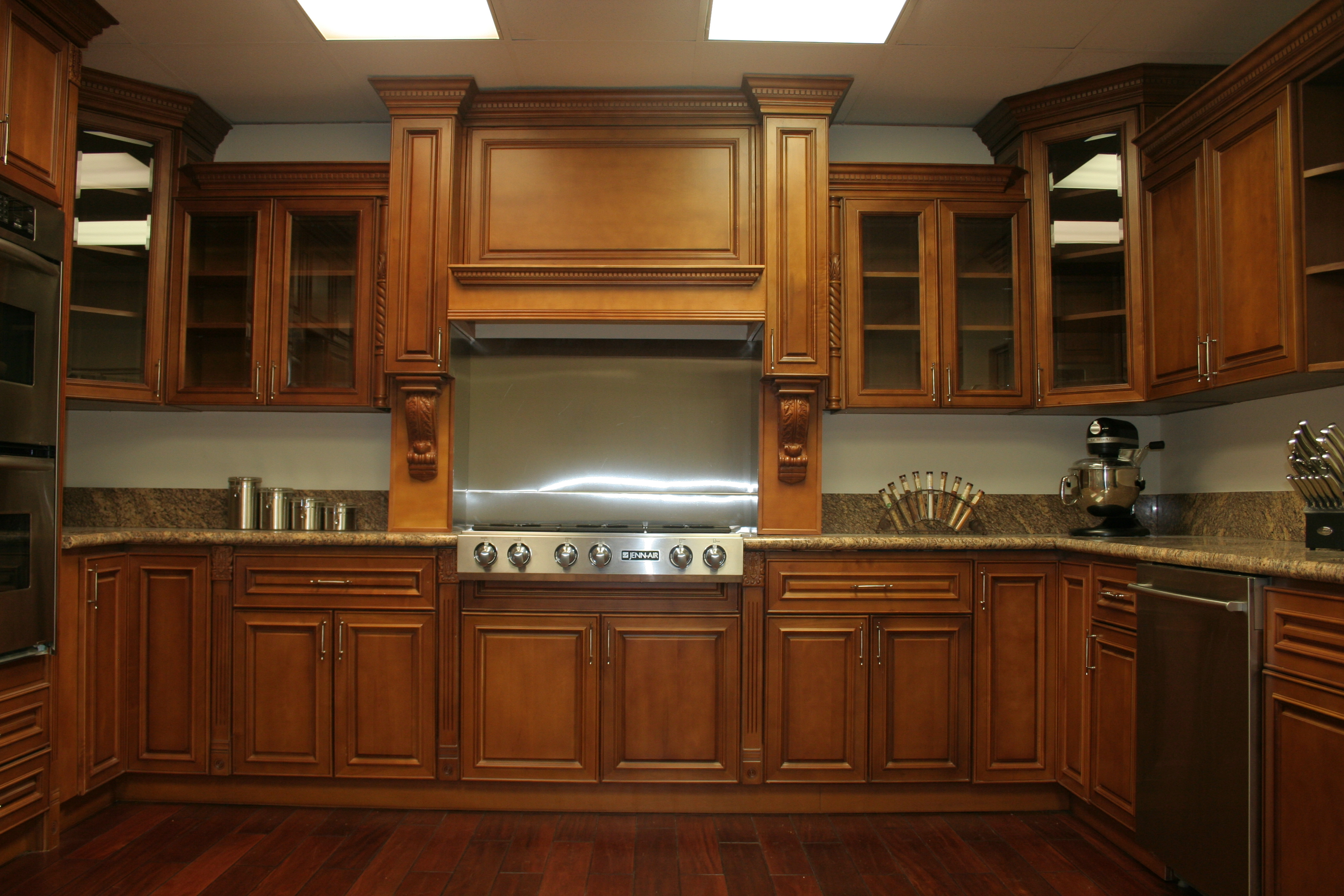 Interior ideas deep brown wooden maple kitchen cabinets for Cupboards and cabinets